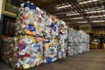 Used plastics that have been made into bales for onward recycling. About 40 per cent to 50 per cent of waste at the facility is contaminated or not recyclable – for example, with people dumping rotting food waste onto clean paper and plastic.