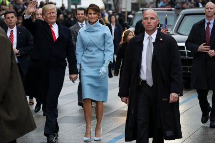Mrs Trump 46 The White House S First Former Model Chose American Designer Ralph Lauren Baby Blue Cropped Jacket With Cowl Neckline And Matching Dress