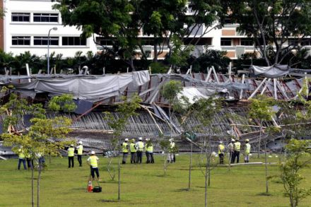 1 dead, 10 injured after uncompleted highway collapses in Singapore