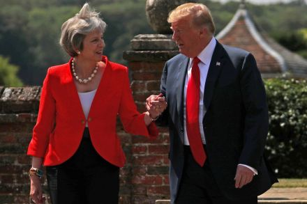 Trumps, May, attend gala at UK's Blenheim Palace