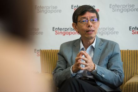 BT PHOTO: Enterprise Singapore chairman Peter Ong (above) in his interview with The Business Times on the need for innovation at Enterprise Singapore office.