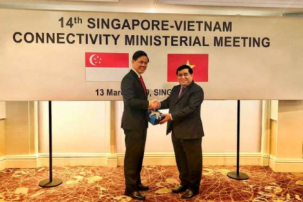 Singapore's Minister for Trade and Industry Chan Chun Sing (left) and Vietnam's Minister of Planning and Investment Nguyen Chi Dung at the 14th Singapore-Vietnam Connectivity Ministerial Meeting in Singapore.