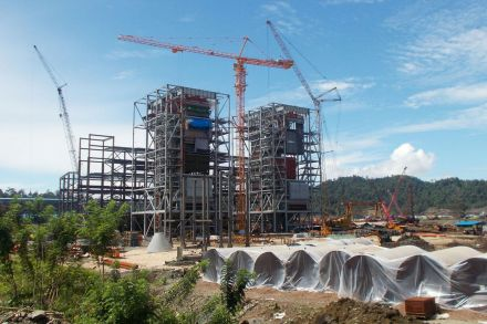 A coal-fired power plant under construction in Sulawesi, Indonesia.
