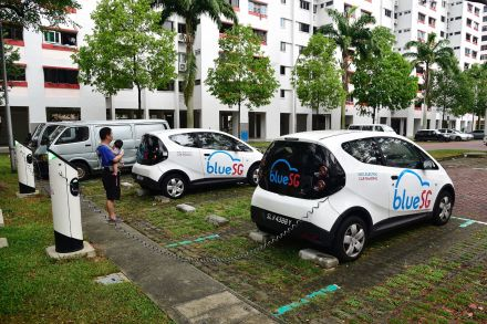 A charging point operated by Singapore electric car-sharing firm BlueSG.