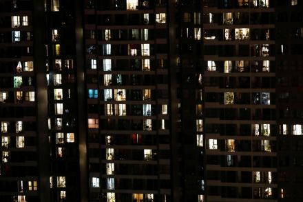Apartments in Hanoi, by night.