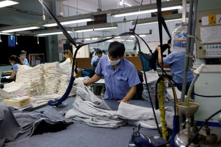 Workers in a textile factory in Vietnam.