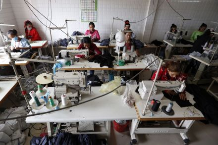 Workers at a garment factory in Phnom Penh, Cambodia.