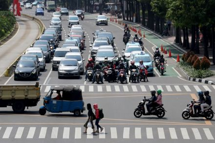 Traffic returns to the streets in Jakarta, Indonesia, as Covid-19 restrictions relax.