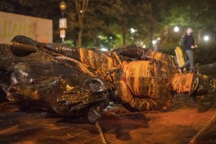 Roosevelt, Lincoln statues knocked down in protests against Columbus Day