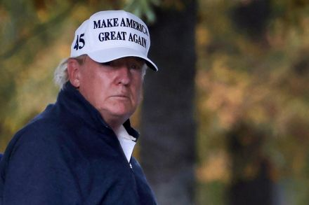 Trump mocked over press conference at Four Seasons garden centre